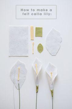 All the petals you'll need to make a felt calla lily!