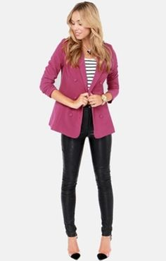 Magenta Blazer and Leather Pants