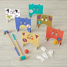 COLD BEVERAGES and LAWN GAMES, duh. This pet-themed croquet set from Land of Nod is BYOB (which is good, since it's technically for kids) but definitely brings [. Cat Games For Kids, Lego For Kids, Diy For Kids, Crafts For Kids, All Toys, Kids Toys, Modern Toys, Land Of Nod, Gifted Kids