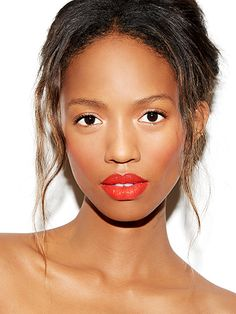 Matchy-matchy makeup: fresh strawberry shade on lips and cheeks with pale shell-colored shimmer around the eyes to make them appear bigger and brighter.