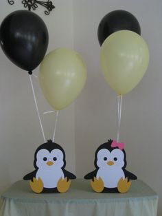 2 Penguin Birthday Party Centerpiece Balloon Holders Boy/Girl - Decoration For Home Birthday Party Centerpieces, Birthday Party Tables, Baby Shower Centerpieces, 1st Birthday Parties, Birthday Ideas, Penguin Birthday, Animal Birthday, Baby Birthday, Balloon Birthday