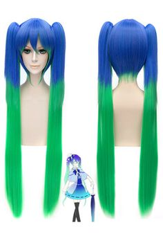 Long VOCALOID MIKU straight clip on ponytails wig