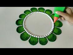 Easy and Quick Rangoli Design - ArtsyCraftsyDad Rangoli Designs Simple Diwali, Rangoli Designs Flower, Free Hand Rangoli Design, Rangoli Border Designs, Small Rangoli Design, Rangoli Patterns, Rangoli Ideas, Rangoli Designs With Dots, Beautiful Rangoli Designs