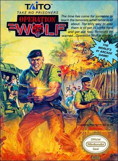 arcade game port for the NES - Operation Wolf, 1989 Nes Games, Games Box, Arcade Games, Games To Play, Nintendo Games, Xbox 360, Playstation, Retro Video Games, Video Game Art