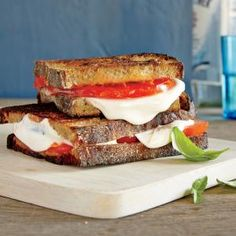 Grilled Margherita Sandwiches | MyRecipes.com This quick five-ingredient entrée transforms a favorite pizza combo into a melty grilled sandwich. To thinly slice fresh mozzarella with ease, freeze the cheese for about 30 minutes before cutting.