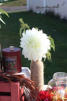 Gorgeous White Dahlia/ Country Wedding Decor by Country Girl Collections