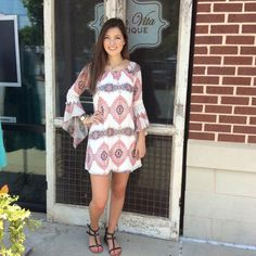 How cute is the bell sleeve dress? White with slight Aztec print is an eye catcher everywhere! #fun #flirty #bestdress