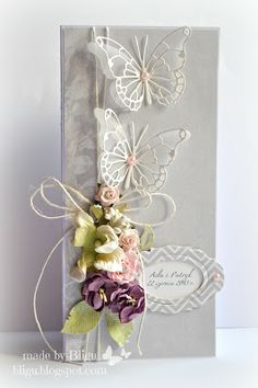 I like the idea of using my memory box butterflies with white cardstock and vellum underneath.
