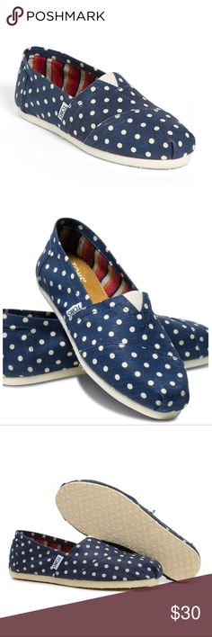 """NWOB Toms Polka Dot Classics With its playful polka dot print, this Classic Alpargata will put a spring in your step. The molded insole and rubber outsole on these Alpargatas are built with comfort and style in mind. Natural navy polka dot printed canvas upper. Elastic """"v"""" for easy fit. Removable insole, sock liner that fights bacteria. Rubber outsole for no-slip grip. Vegan. Hemp, cotton and polyester upper/textile lining. Toms Shoes Moccasins"""