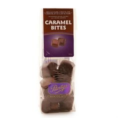 Caramel Bites has a variety of flavours in both creamy milk and decadent dark chocolate, and may include caramels studded with fresh, roasted nuts. Caramel, Roasted Nuts, Milk, Snacks, Chocolate, Sticky Toffee, Candy, Appetizers, Schokolade