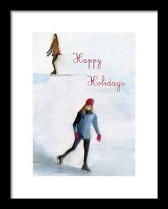 Ice Skaters Holiday Card Framed Print by @beverlybrownart  on Fine Art America