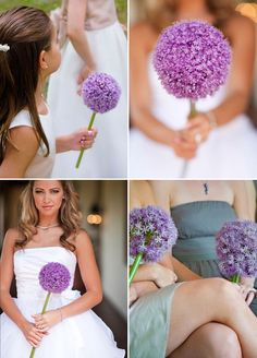 11 Remarkable Blooms For Single-Flower Wedding Bouquets Traditionally, brides select elaborate bouquets overflowing with blooms, but if you're bold, why not opt for a single flower bouquet for your wedding? Small Wedding Bouquets, Orange Wedding Flowers, Flower Crown Wedding, Bridesmaid Flowers, Flower Bouquet Wedding, Flower Bouquets, Single Flower Bouquet, Allium Flowers, Flower Girl Photos
