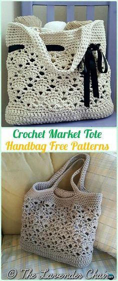 Crochet Market Tote Handbag Free Pattern - #Crochet Handbag Free Patterns #CrochetPatterns