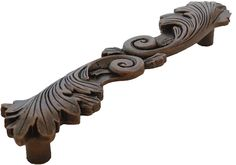 """PHDA-29--6"""" c.c. Acanthus Handle.  Hand cast and hand finished in solid pewter.  Available in 9 finishes.  Cast in an art foundry in USA.  See this handle at our web site http://www.phdhardware.com/6-cabinet-hardware-appliance-pull-with-acanthus-design/"""