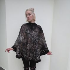 Warm felted poncho for the autumn