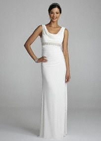 Effortlessly elegant and stunning! You will the picture of classic sophistication in this gorgeous cowl neck beaded gown!  Tank bodice features softly draped cowl neckline and eye-catching scoop back.  Pearls and crystals adorn the empire waist creating a slimming silhouette.   Long draped soft skirt creates movement and is comfortable to wear all night long.  Fully lined. Side zip. Imported polyester. Dry clean.