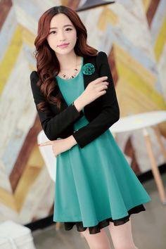 Elegant Costume Dress Sleeveless Short Jacket Lace Belt YRB 2104