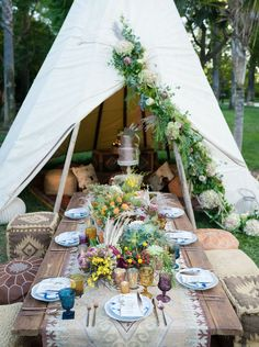 a boho picnic setting with Moroccan ottomans, an embroidered table runner, colorful wildflowers and herbs and pampas grass Boho Wedding, Wedding Table, Hipster Wedding, Wedding Scene, 1920s Wedding, Wedding Reception, Dream Wedding, Reception Decorations, Table Decorations