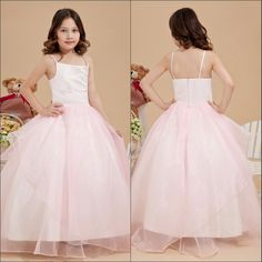 2014 Latest Fashion Fancy Lovely Spaghetti Strap Ball Gown Pink Flower Girl Dresses For 7 Year