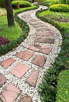 1000 images about walkway ideas on pinterest stone for Pebble garden designs