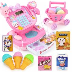 Electronic Cash Register Toy W/ Mic Speaker & Scanner, w/ Shopping Cart + Play Food Pretend Play Supermarket Cashier Game Props Stylish Themes, Barbie Doll Set, Tinker Toys, Game Props, Cleaning Toys, Baby Games, Baby Activities, Best Kids Toys, Cash Register
