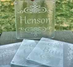 Glass etched coasters - bridesmaid Gifts Could use a cutting board Diy Cutting Board, Glass Cutting Board, Vinyl Crafts, Vinyl Projects, Custom Woodworking, Woodworking Projects Plans, Glass Engraving, Personalized Bridesmaid Gifts, Glass Etching