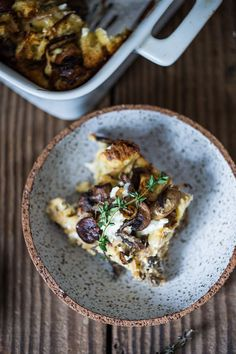 delicious Baked Egg Casserole called Breakfast Strata with mushrooms ...