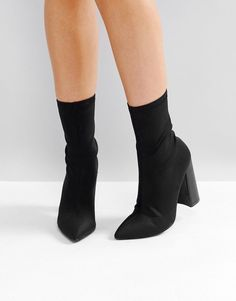 Public Desire Libby Black High Heeled Sock Boots - Black