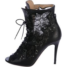 Pre-owned Valentino Lace Peep-Toe Ankle Boots ($525) ❤ liked on Polyvore featuring shoes, boots, ankle booties, black, black ankle booties, lace-up bootie, black peep toe boots, peep-toe booties and black lace booties