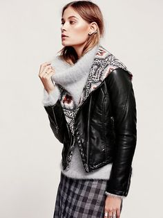 Free People Sweater Story Vegan Leather Jacket at Free People Clothing Boutique.