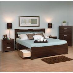 31% Off was $1,298.00, now is $897.88! Prepac Coal Harbor 4-Piece Queen Bedroom Set in Espresso