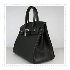 Hermes Birkin Bag Black Silver via Polyvore