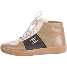 Pre-owned Chanel Paris-Edinburgh Quilted High-Top Sneakers ($495) ❤ liked on Polyvore featuring shoes, sneakers, brown, brown sneakers, high top sneakers, chanel sneakers, chanel trainers and tennis sneakers
