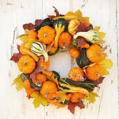 Use your leftover mini pumpkins from Halloween to make this lovely fall wreath. Simply stick toothpicks in the pumpkins to affix them to the straw wreath and hot-glue them in place along with gourds and colorful leaves. Diy Fall Wreath, Autumn Wreaths, Holiday Wreaths, Wreath Ideas, Straw Wreath, Grapevine Wreath, Pumpkin Wreath, Thanksgiving Wreaths, Thanksgiving Cornucopia