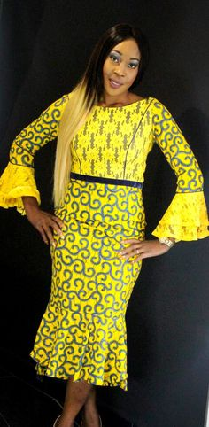African Print Ankara Lace Dress with long Bell Sleeves by T4turban on Etsy