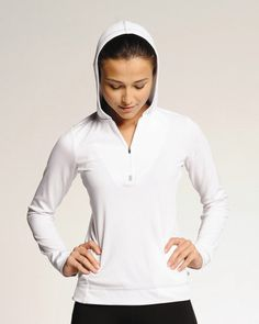 Available in a variety of colors, @April Poyer Clothing Ladies' Long Sleeve ½ Zip Hooded Pullover is dry-wicking and anti-microbial, making it perfect for any active endeavor. Klum's pullover may have pockets, but anything you carry will only weigh you down during your workout. Price: $23.82 (compare to Heidi Klum's price of 79.99) #lookforless #clothingshoponline #clothingshop #shop #clothingbrands #clothes #fashion #onlineshopping #deals #women #style #workout #activewear