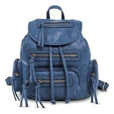 Women's Drawstring Backpack Handbag - Denim