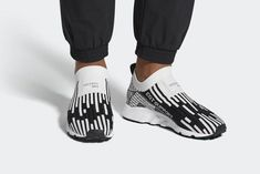 The adidas EQT Support Sock Primeknit White Black (Style Code: features a White and Black Primeknit upper with classic EQT Sub Green accents. Support Socks, Black Thread, Dress With Sneakers, Sport Fashion, Gym Workouts, Casual Looks, Adidas Originals, Snug, Trainers