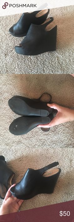 Steve Madden black wedges Great shape, just too small for me! Steve Madden Shoes Wedges