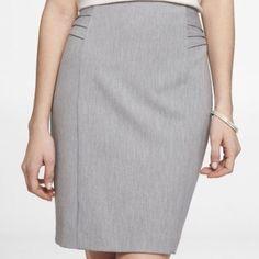 EUC Express Pintucked Skirt Light Grey 0 See matching jacket! Express Skirts