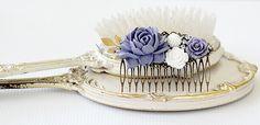 Bridal Hair Comb - Lavender Rose Hair Comb - Floral Hair Comb - Hair Comb - Vintage Style Bridal Hair Comb - Mom Gift - Bridesmaid Gift by ShabbyCottageAdorned on Etsy https://www.etsy.com/listing/517204722/bridal-hair-comb-lavender-rose-hair-comb