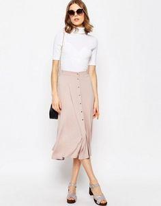 b090f6304cdcb ASOS Midi Skater Skirt with Poppers Mini Skater Skirt