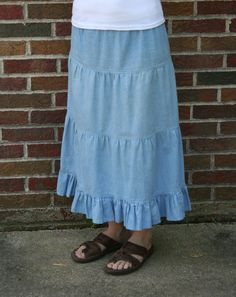I'm going to order this in dark blue denim.  Too cute.  Custom Made Women's Skirt, Women's Denim Skirt, Jean Skirt, LONG DENIM SKIRT, Tier Skirt. $39.00, via Etsy.