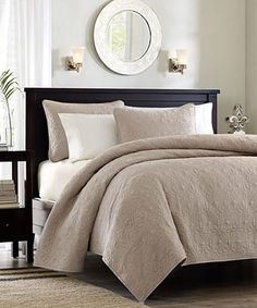 Take a look at this Khaki Ornate Beth Coverlet Set by JLA Home on #zulily today!