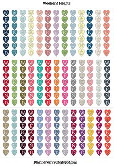 Weekend Hearts Solid - free planner printable stickers - on Planner Envy