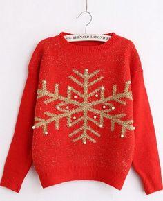 Gold snowflake sweater