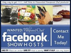 Host an online Facebook Pampered Chef party and earn free product!!! www.facebook.com/pamperedchefwithlisa