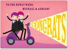 Suave Scootering - Wedding Congratulations Cards - Rosy Designs - Ballet - Pink : Front #pride
