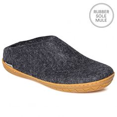 "Glerups Felt Rubber Sole Mule - Charcoal Nanny Glerup describes her Danish slippers as ""beautiful, natural and warm"". We would also add that they are practical, beautifully made and long lasting. The rubber soled Glerups mule is a non-slip slipper that is as supple as calf skin but ideal if you want to nip outside. They are by far the most stylish and understated house shoes we've ever had the pleasure to pad around in. Made of 100% pure natural wool with a sole of soft rubber."