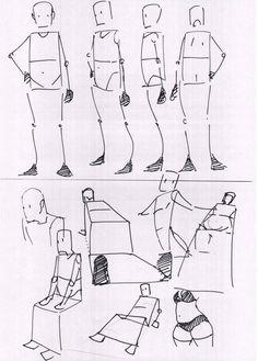 下の絵は、折り紙のようですが、座ってる、四つん這い等を描く場合、の目安にしていますね。フカン、アオリにも使っていますね。
